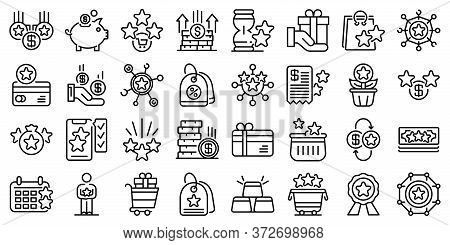 Bonus Icons Set. Outline Set Of Bonus Vector Icons For Web Design Isolated On White Background