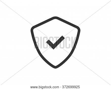Shield Icon With Check Mark. Protection Emblem. Isolated Security Sign. Privacy Outline Illustration