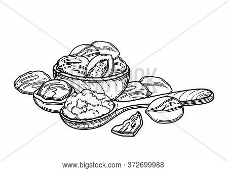 Graphic Composition Of Shea Plants And Butter Inside The Wooden Bowl And Spoon