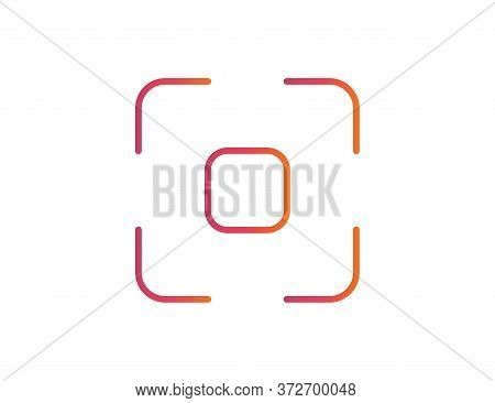 Photo Frame In Media Social Style. Simple Business Card In Rainbow Color. Focus Sign In Outline. Iso
