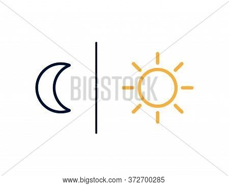 Moon And Sun Outline Icons. Day Vs Night Illustration. Sunlight And Moonlight Signs. Simple Weather