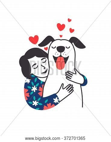 Female Pet Friend. Cartoon Young Woman Hugging Cute Puppy With Care And Love, Cozy Relaxing Friendsh