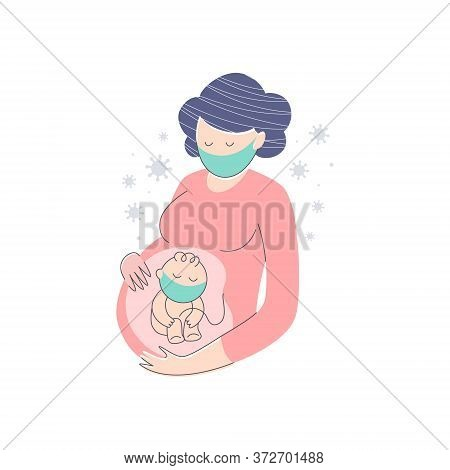 Pregnant Women And Her Unborn Child Wearing Medical Masks, Metaphor Of Coronavirus Infection Danger