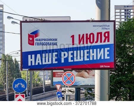 Street Banner With Agitation For Amendments To The Constitution Of The Russian Federation. Advertisi