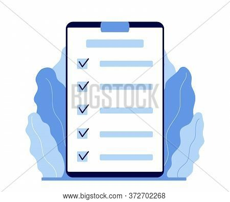 Clipboard With Checklist. Plan, Register Information. Marked Checklist On A Clipboard Paper. Success