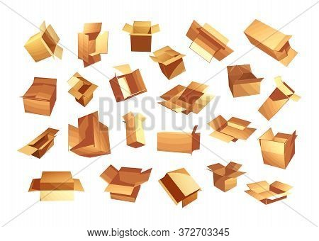 Cardboard Boxes Set. Shipping And Delivery Vector Illustration. Brown Recycled Packages Collection I