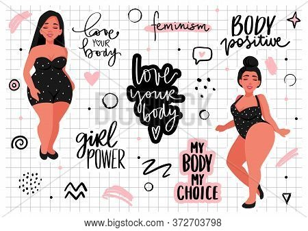 Body Positive, Feminism Sticker Collection. Love Your Body, Girl Power, My Body My Rules - Activists