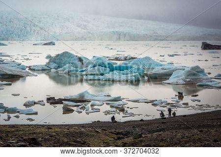 Eastern Region, Iceland - June 12, 2018: Aerial View With Icebergs Of Fjallsarlon Glacial Lagoon Nea