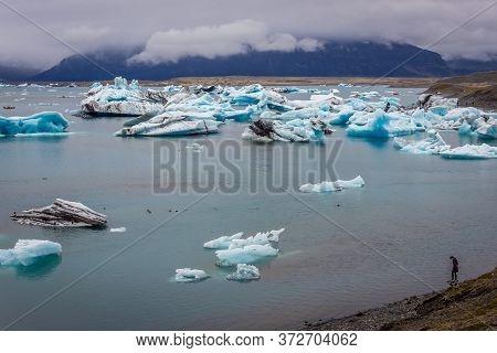 Eastern Region, Iceland - June 12, 2018: View On The Jokulsarlon - Literally Glacial River Lagoon, L