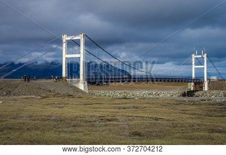 Eastern Region, Iceland - June 12, 2018: Bridge Over Jokulsarlon Glacial Lake On The Atlantic Shore