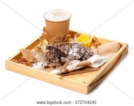 Chocolate Cookies, Latte, Orange Jam And Nuts On A Rustic Wooden. Paper Cup Made Of Eco-friendly Mat