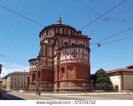 View Of The Back Of Santa Maria Delle Grazie Church Where The Fresco Of Last Supper By Leonardo Da V