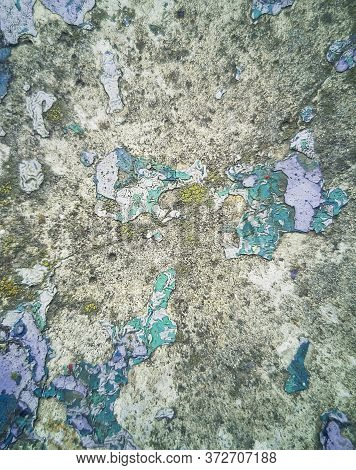 Blurred Concrete Surface Texture With Old Paint. Shattered Wall Abstract Background