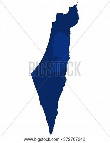 Detailed And Accurate Illustration Of Map Of Israel And Palestine In Blue Colour