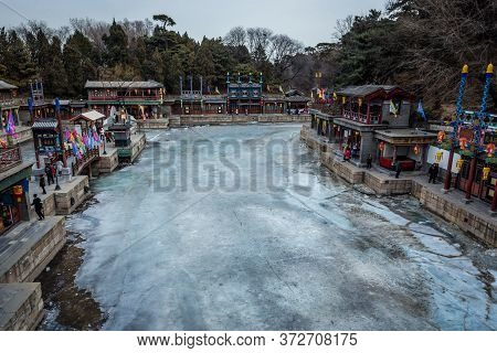 Beijing, China - February 10, 2019: Frozen Back Lake In Suzhou Street Area Of Summer Palace In Beiji