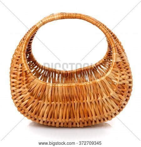 Original Blank Wicker Basket Isolated On White.