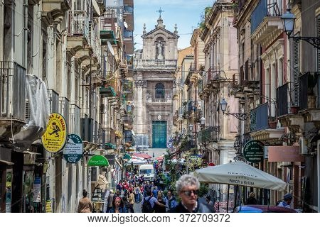Catania, Italy - May 13, 2019: Our Lady Of Mount Carmel Church Seen From Pacini Street In Catania Ci