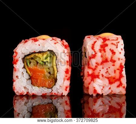Sushi On Black Background. Perfect For Creating Sushi Restaurant Menu.