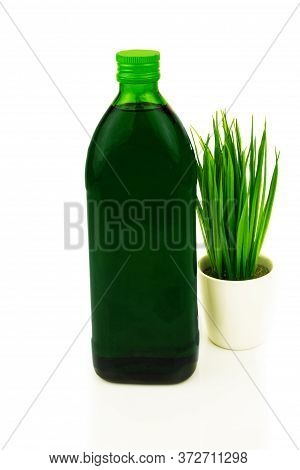 Green Healthy Superfood Concept. Glass Bottle Of Chlorophyll Drink With Fresh Grass, Wheat In Bowl.