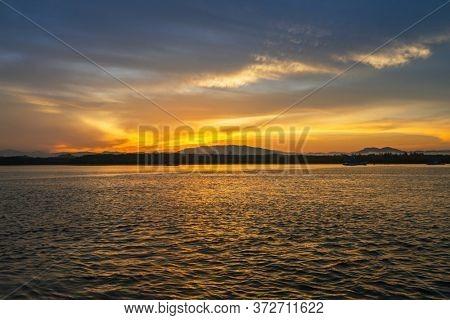 Beautiful sunset at the Andaman Sea, Thailand