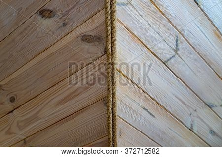 Exterior Corner Of A Wooden House. House Design From Wooden Boards