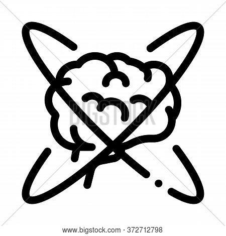Brain In Center Of Atom Icon Vector. Brain In Center Of Atom Sign. Isolated Contour Symbol Illustrat