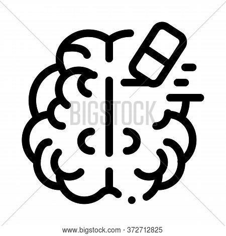 Brain Mind Erase Eraser Icon Vector. Brain Mind Erase Eraser Sign. Isolated Contour Symbol Illustrat
