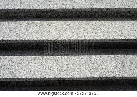 Stairs Made Of Gray Granite. Horizontal Background. Stairs Close Up