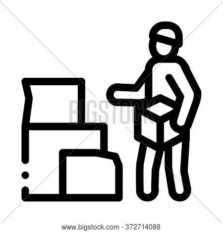 Homeless With Cardboard Boxes Icon Vector. Homeless With Cardboard Boxes Sign. Isolated Contour Symb