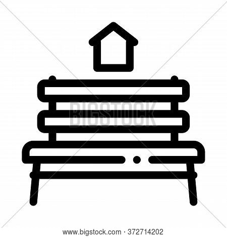 Bench Homeless Home Icon Vector. Bench Homeless Home Sign. Isolated Contour Symbol Illustration