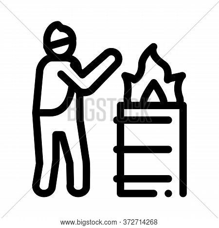 Homeless Warming Flame Icon Vector. Homeless Warming Flame Sign. Isolated Contour Symbol Illustratio