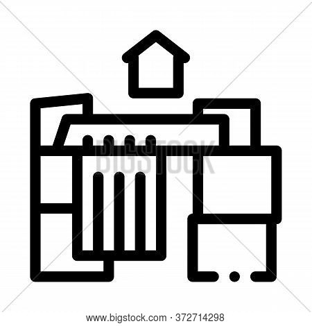 Homeless Cardboard House Icon Vector. Homeless Cardboard House Sign. Isolated Contour Symbol Illustr