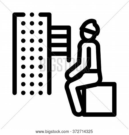 Homeless Sitting On Box In City Icon Vector. Homeless Sitting On Box In City Sign. Isolated Contour