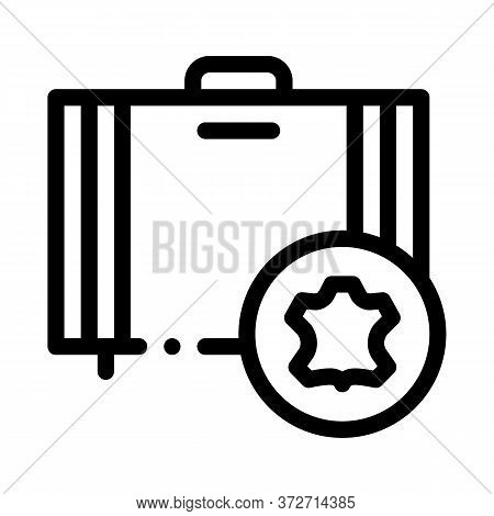 Leather Luggage Icon Vector. Leather Luggage Sign. Isolated Contour Symbol Illustration