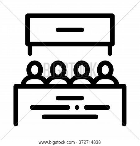 Multiracial People Meeting Icon Vector. Multiracial People Meeting Sign. Isolated Contour Symbol Ill