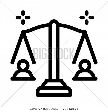 Racial Scales Icon Vector. Racial Scales Sign. Isolated Contour Symbol Illustration