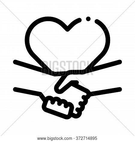 Multiracial Handshake Heart Icon Vector. Multiracial Handshake Heart Sign. Isolated Contour Symbol I