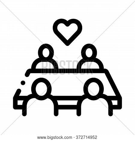 Multiracial People Sitting At Table Icon Vector. Multiracial People Sitting At Table Sign. Isolated