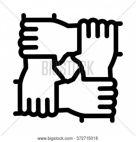 Multiracial Group Hands Holding Icon Vector. Multiracial Group Hands Holding Sign. Isolated Contour