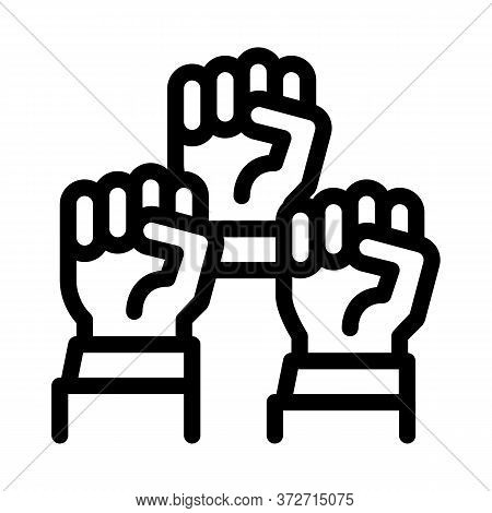 Multiracial Fists Icon Vector. Multiracial Fists Sign. Isolated Contour Symbol Illustration