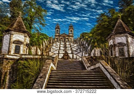 Baroque Church On Top Of Stairway That Climbs 116 Meters, At Bom Jesus Do Monte Sanctuary In The Out