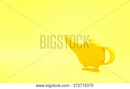 Yellow Magic Lamp Or Aladdin Lamp Icon Isolated On Yellow Background. Spiritual Lamp For Wish. Minim