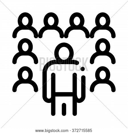 Speaker Standing Before Audience Icon Vector. Speaker Standing Before Audience Sign. Isolated Contou