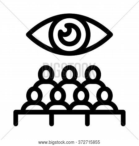 Audience Watching Icon Vector. Audience Watching Sign. Isolated Contour Symbol Illustration