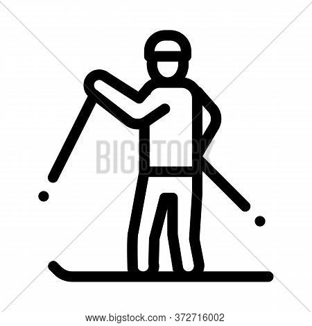 Skier Skiing Icon Vector. Skier Skiing Sign. Isolated Contour Symbol Illustration