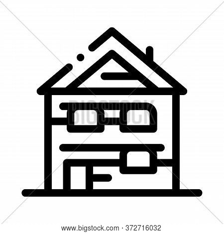 Ski Resort Cabin Building Icon Vector. Ski Resort Cabin Building Sign. Isolated Contour Symbol Illus