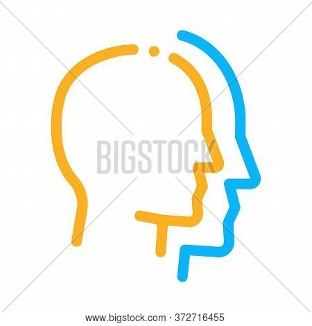 Human Head Copy Silhouette Icon Vector. Human Head Copy Silhouette Sign. Color Symbol Illustration