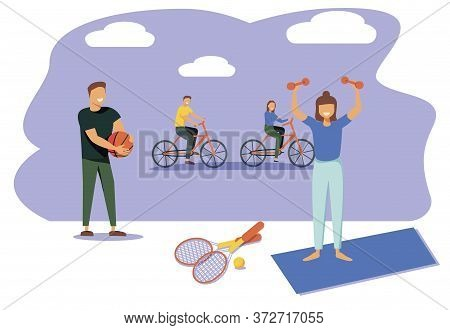People Performing Sports Activities Or Exercise And Wholesome Food. Concept Of Healthy Habits, Activ