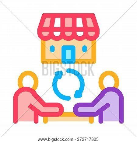 Franchise Partnership Icon Vector. Franchise Partnership Sign. Color Symbol Illustration