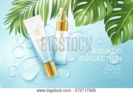 Cosmetics On Blue Water Drop Background With Tropical Palm Leaves. Face Cosmetics, Body Care Banner,